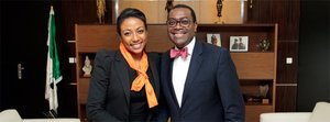 Vanessa Moungar, the African Development Bank's Director for Gender, Women and Civil Society, and the President of the African Development Bank Group, Dr. Akinwumi Adesina