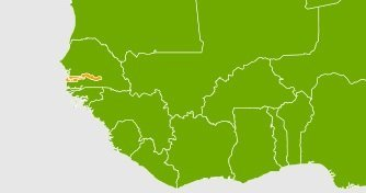 map of Africa, detailing where Gambia is.