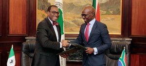African Development Bank President Akinwumi Adesina and South African Minister of Finance, Malusi Gigaba