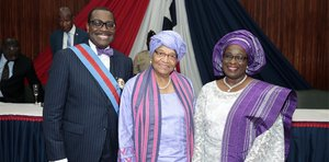 president adesina accolade with republic of liberia - afdb
