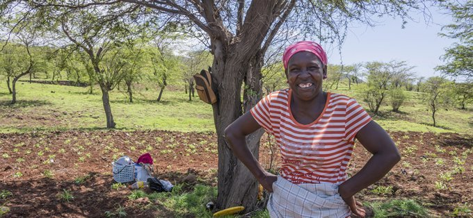 Woman smiling with her crop