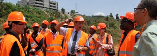 Executive Directors visit the construction site of the Henri Konan Bédié Bridge in Abidjan