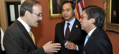 US Congressman Eliot Engel speaks with Luis Albert Moreno, President of the Inter-American Development Bank, at the US Treasury in Washington, DC