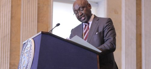 AfDB President Donald Kaberuka delivers a speech on the occasion of the 2013 US Treasury Development Impact Honors ceremony in Washington. The African Development Bank is the first multilateral development bank to receive two awards in the same year