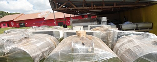 Some of the 15 Milk Coolers at the Masaka warehouse ready to be delivered to the various sites in Central Uganda