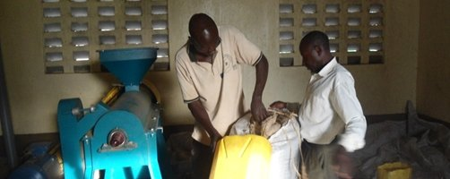 Coffee Hller being tested after installation at kalangalo in Mityana District