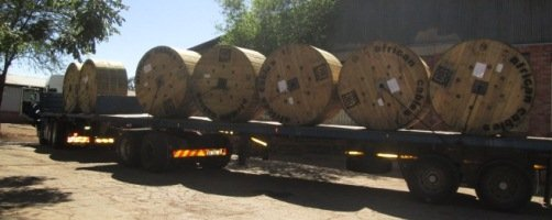 Underground power cables for ZETDC being delivered in Bulawayo