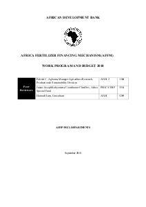 Africa Fertilizer Financing Mechanism (AFFM) - Work Program and Budget 2018
