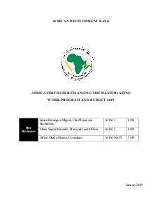 Africa Fertilizer Financing Mechanism (AFFM) - Work Program and Budget 2019