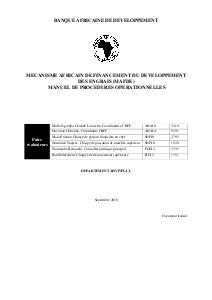 Mecanisme Africain de Financement du Developpement des Engrais (MAFDE) - Manuel de Procedures Operationnelles