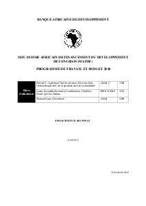Mécanisme Africain de Financement du Développement des Engrais (MAFDE) - Programme de Travail et Budget 2018