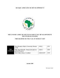 Mécanisme africain de financement du développement des engrais (MAFDE) - Programme de travail et budget 2019