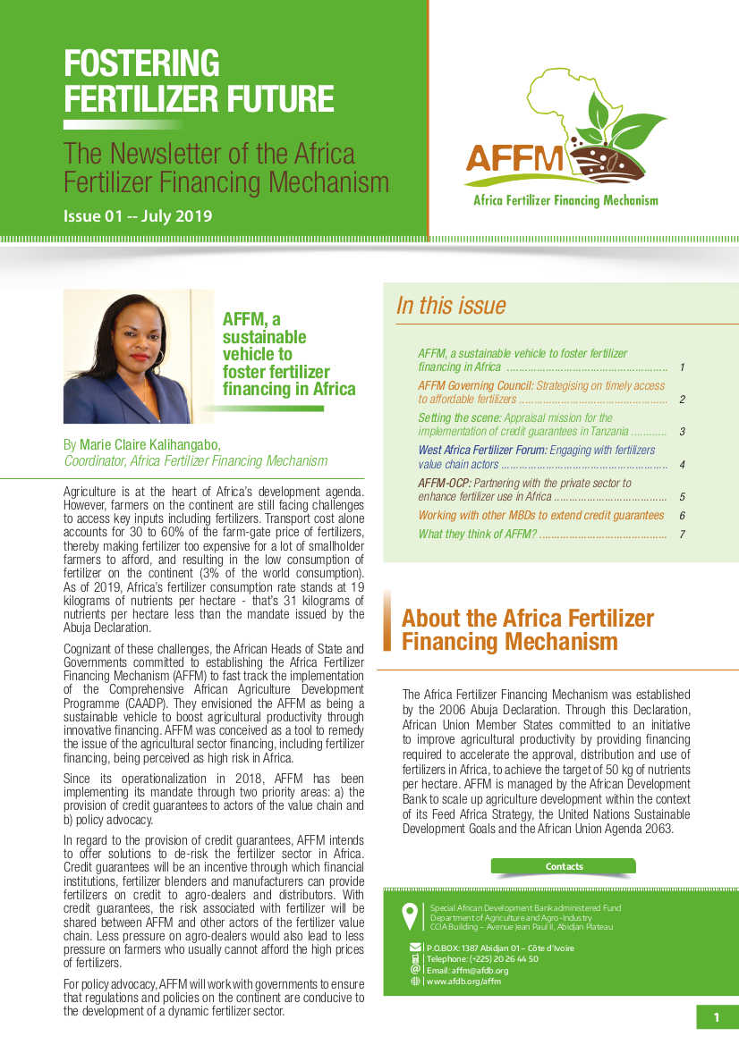 The Newsletter of the AfricaFertilizer Financing Mechanism